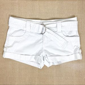 G by Guess White Belted Shorts Size 24
